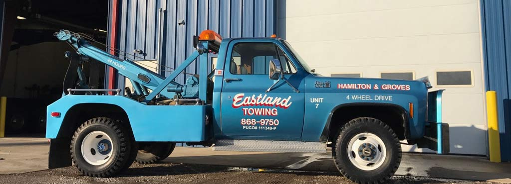 Eastland Towing 4 wheel drive wrecker for off-road or rough terrain situations.